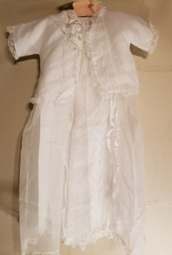 1950s Christening Outfit Set 4 pc Robe Dress Slip Bonnet Madonna Baby Girl