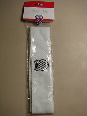 NWT UNISEX K-SWISS HEAD BAND WHITE K-SWISS LOGO IN ORIGINAL PACKAGE