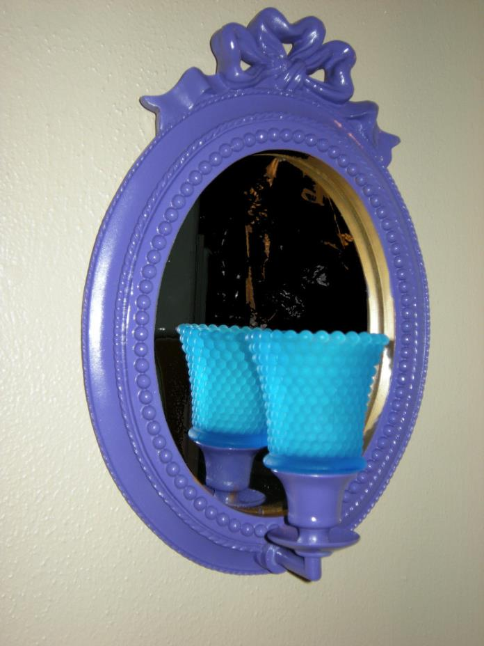 Purple Mirror Candle Holder Ribbon Design Sconce Turquoise Glass Votive Cup