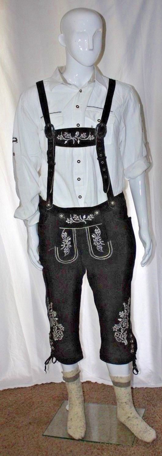Leather - Landhaus Long Lederhosen (UK 54) Brown w/ Trachten White Shirt (UK L)