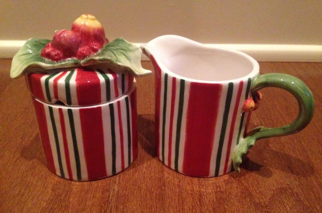 Fitz And Floyd Essentials Holiday Christmas Cream & Sugar w/ Lid Set Red & Green