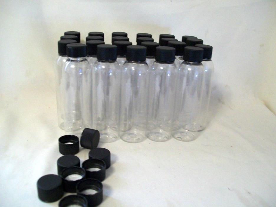 Jar 4oz Clear Plastic PET Jars With  Black Lid Spice Jars 23 with 9 extra lids.