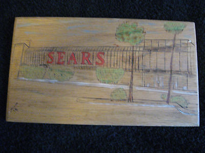 Drawing Sign of a Sears Store on Wood signed Alain 1979 7 1/2
