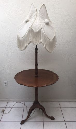 Antique Carved Wood Pie Crust End Table W/ Floor Lamp Claw Feet Ornate