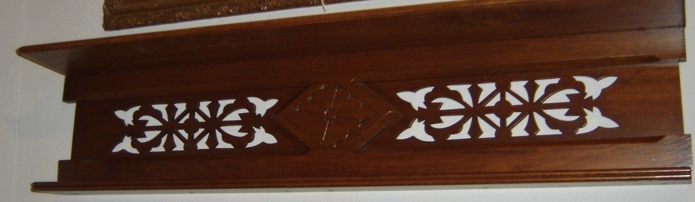 Antique Walnut Pierced Double Shelf Diamond  in center w/ pierced flowers 8242