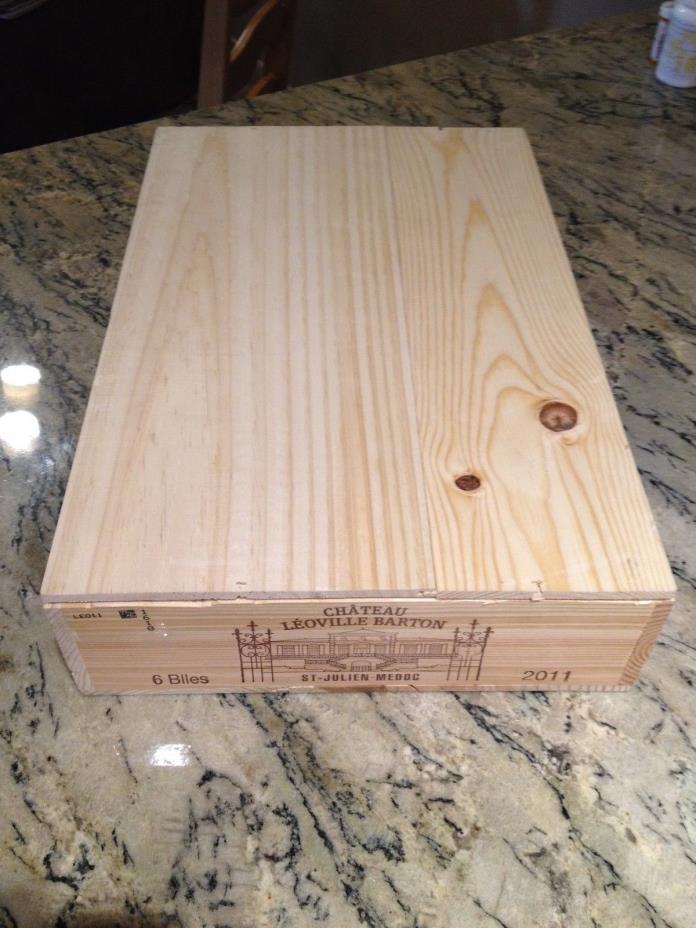 CHATEAU LEOVILLE BARTON  2011 FRENCH WOOD WINE CRATE 19 5/8