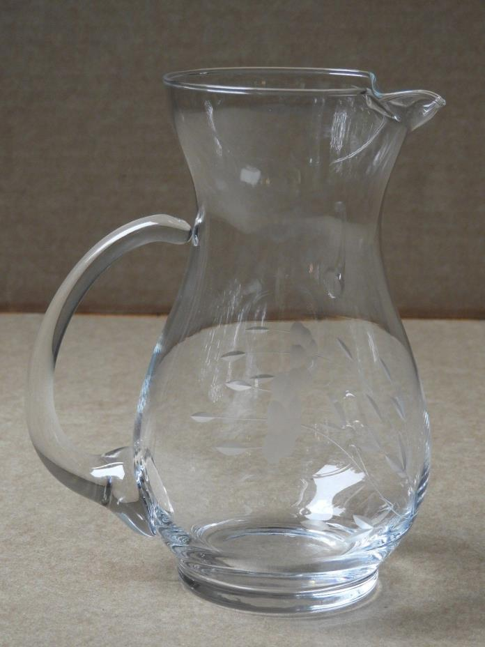 FLORALLY ETCHED GLASS PITCHER