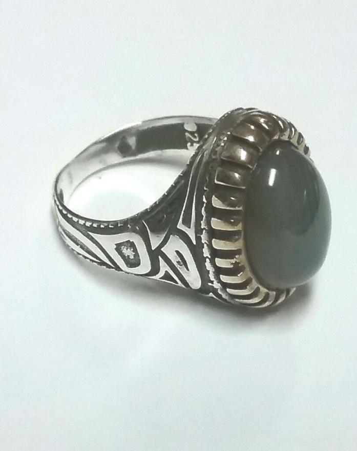 Men's Sterling Silver Ring Tribal Moonstone Stone Gold Accents 14grams Sz 11