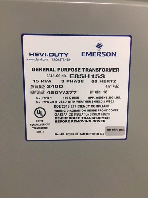 NEW Emerson Hevi-Duty General Purpose Transformer E85H15S 15 KVA 3 Ph 60 Hertz
