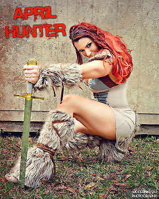 April Hunter  Stripper Viking sitting  8X10 Signed & personalized