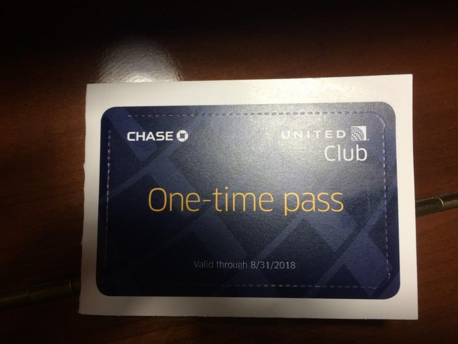 One UA United Club One Time Pass Expires 8/31/2018 FREE SHIPPING