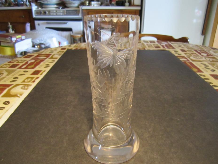Old Cut Glass With Etched Butterflies and Ferns Decorated Vase