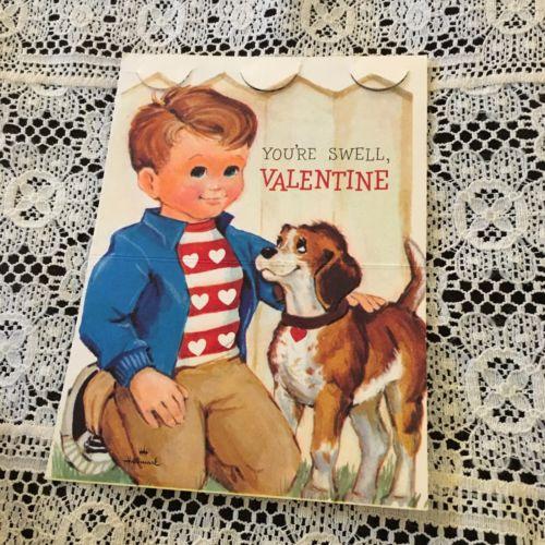 Vintage Greeting Card Valentine Boy Beagle Puppy