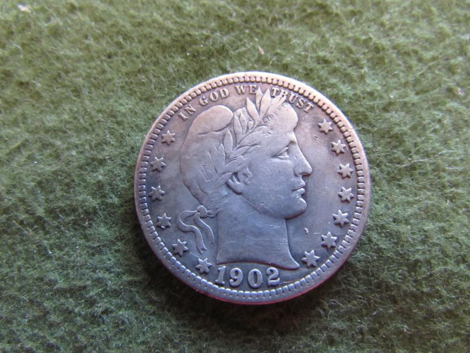 1902 Barber Quarter Philadelphia Mint 25 Cent Silver Coin