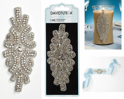 David Tutera Double Row Rhinestone Applique w/ Crystal sash headband dress ect.