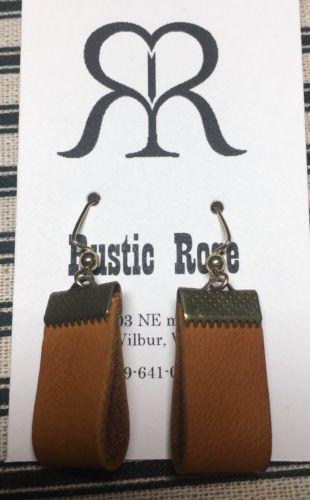 Handmade Leather Loop Dangle Wire Earring- Classic Design In Tan & Bronze