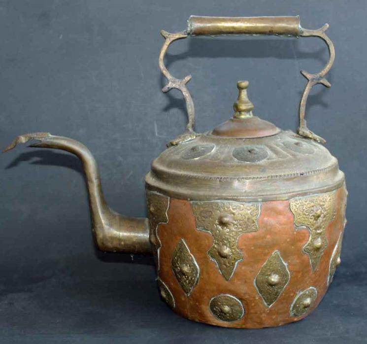 Antique Copper & Brass Hammered Teapot Kettle Snake Head Middle Eastern Large