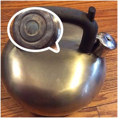 Vintage Copco Stainless Steel Teapot Kettle Distressed Silver Black