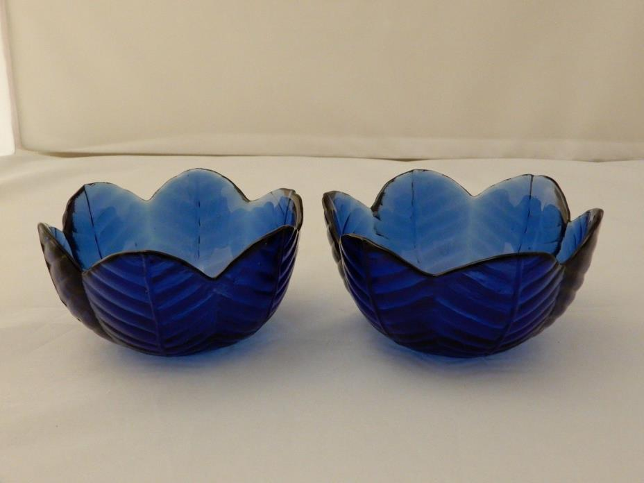 Vintage Small Cobalt Blue Petal/Leaf Pressed Glass Scalloped Bowls Set of 2