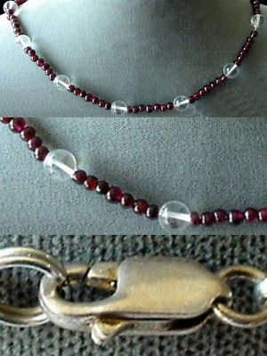 Garnet and Quartz Necklace Solid Sterling Silver Clasp!  200022
