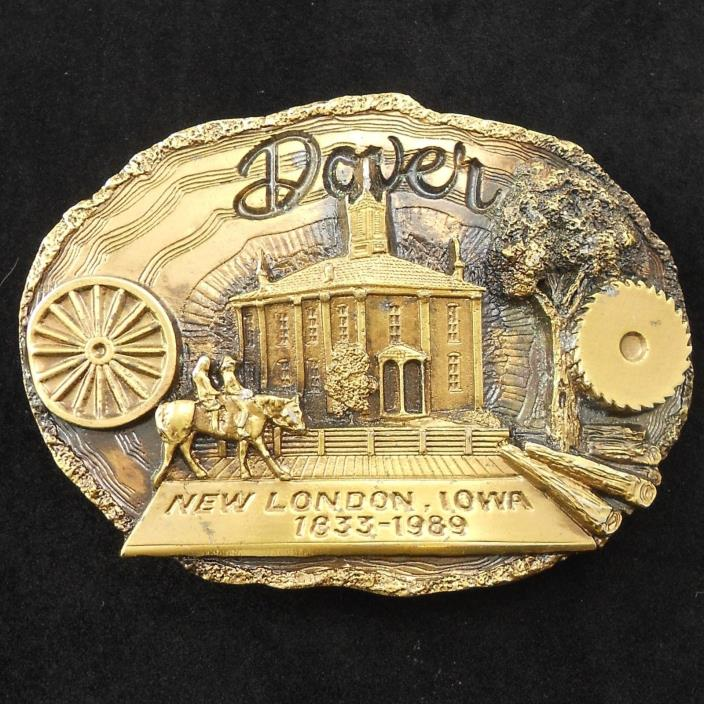 NOS Vintage 1833-1989 Commemorative Dover New London, Iowa Brass Belt Buckle