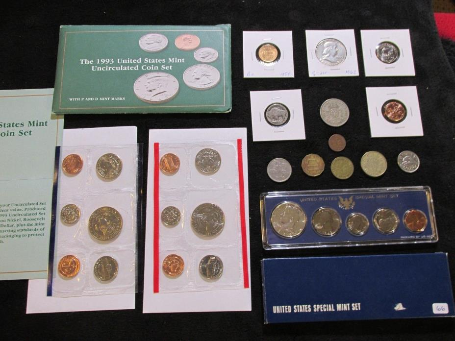 Coins Lot +1962 90% Silver Franklin Half + 1966 MINT SET~WHEAT+ No Reserve #B90