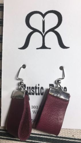 Handmade Leather Loop Dangle Wire Earrings In Classic Design Burgandy & Silver