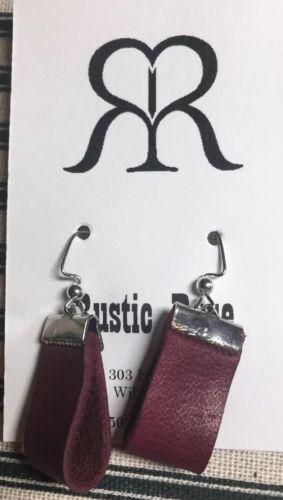 Handmade Leather Loop Dangle Wire Earrings In Classic Design Burgandy & Silver