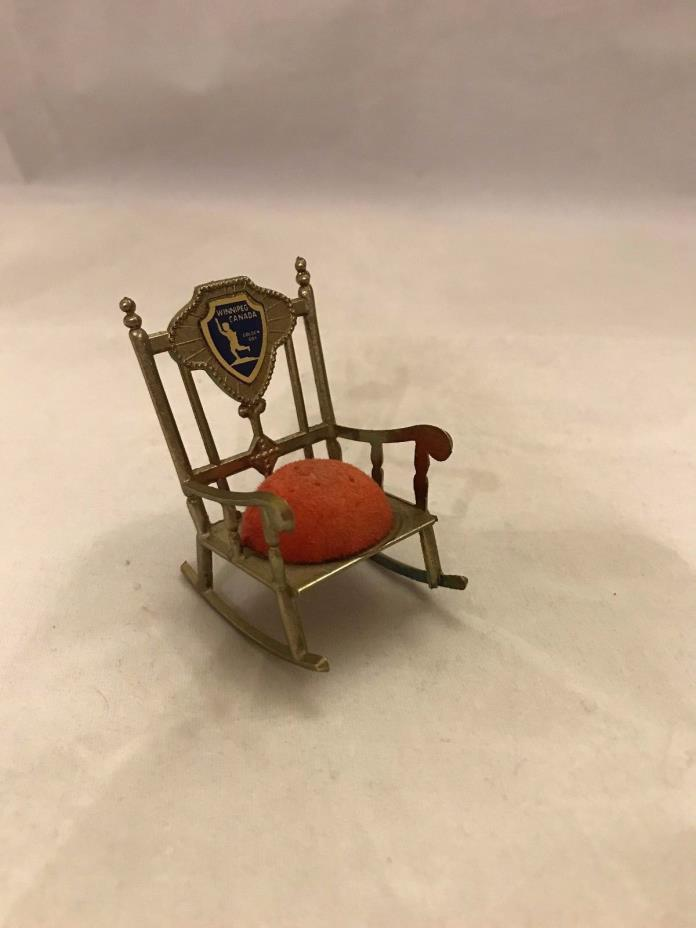 Vintage Winnipeg Canada Golden Boy souvenier pin cushion rocking chair Hong Kong