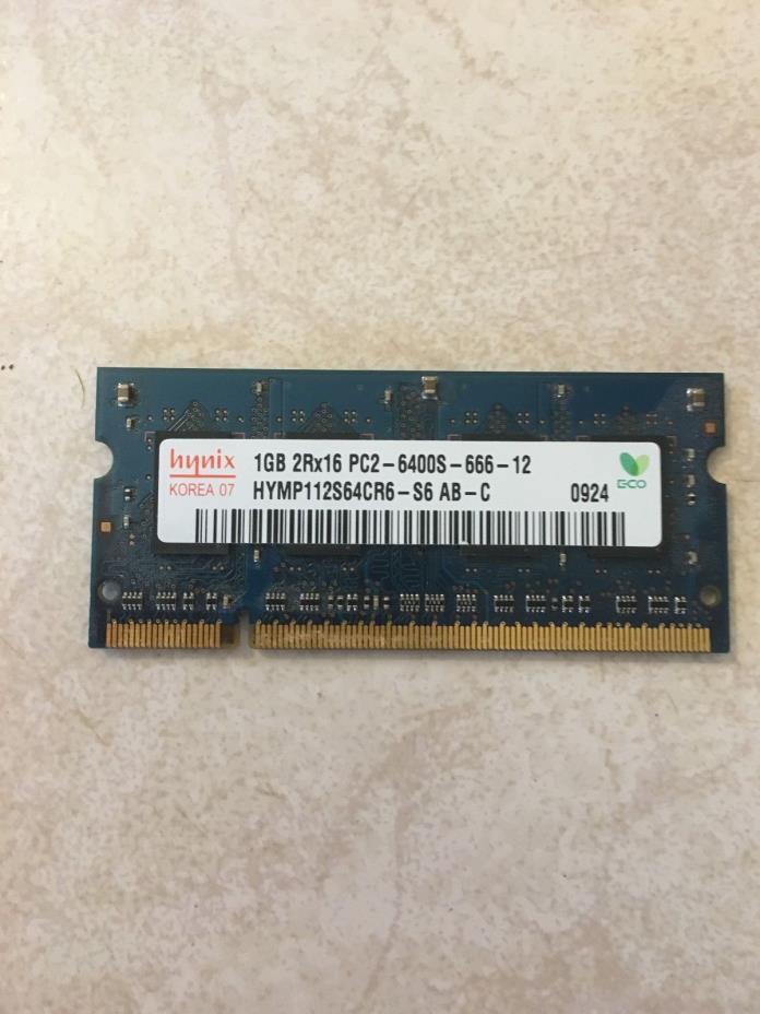 ORIGINAL HYNIX LAPTOP MEMORY 1GB 2RX16 PC2-6400S-666-12, used