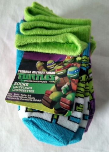NickelodeonTeenage Mutant Ninja Turtles Toddler  Socks Set 5Pair Shoe Size 3-5