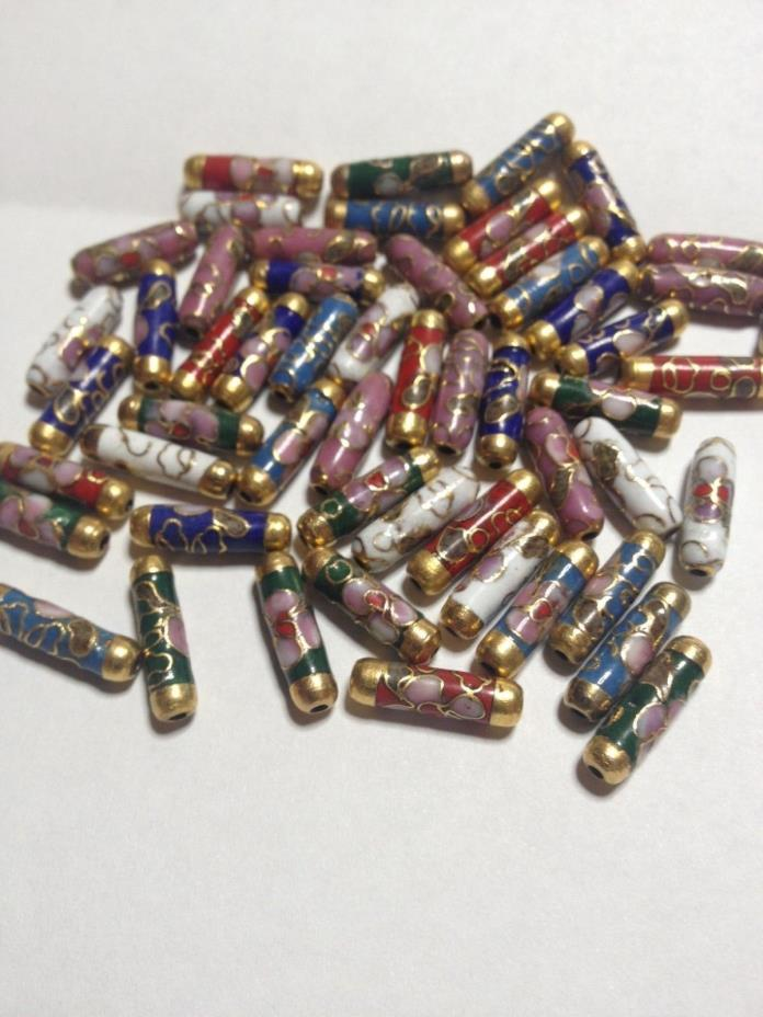Cloisonne Beads. 4x10 & 4x12 mm Mixed Tube Lot Of 54.