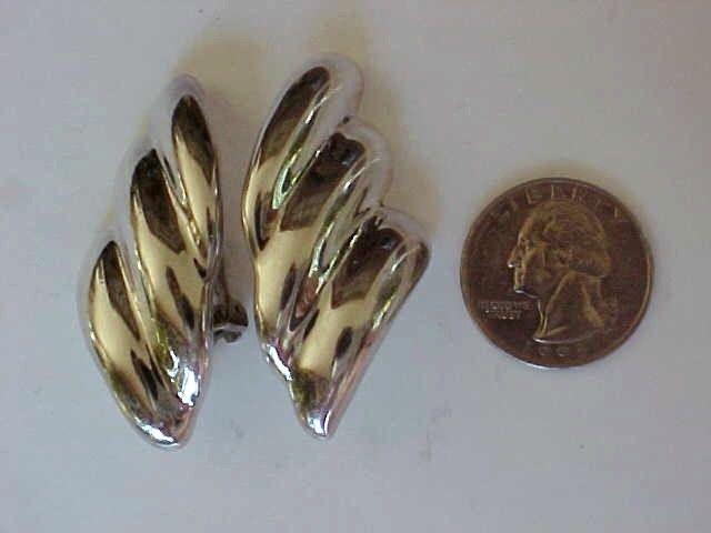 Beautiful Bjfla Sterling Silver Modernist Clip Earrings