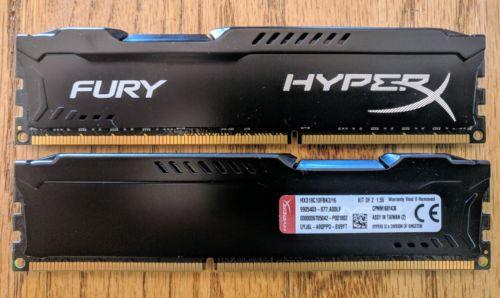 Kingston HyperX Fury 16 GB (2x8GB)1866 MHz DDR3 RAM Memory (HX318C10FBK2/16)