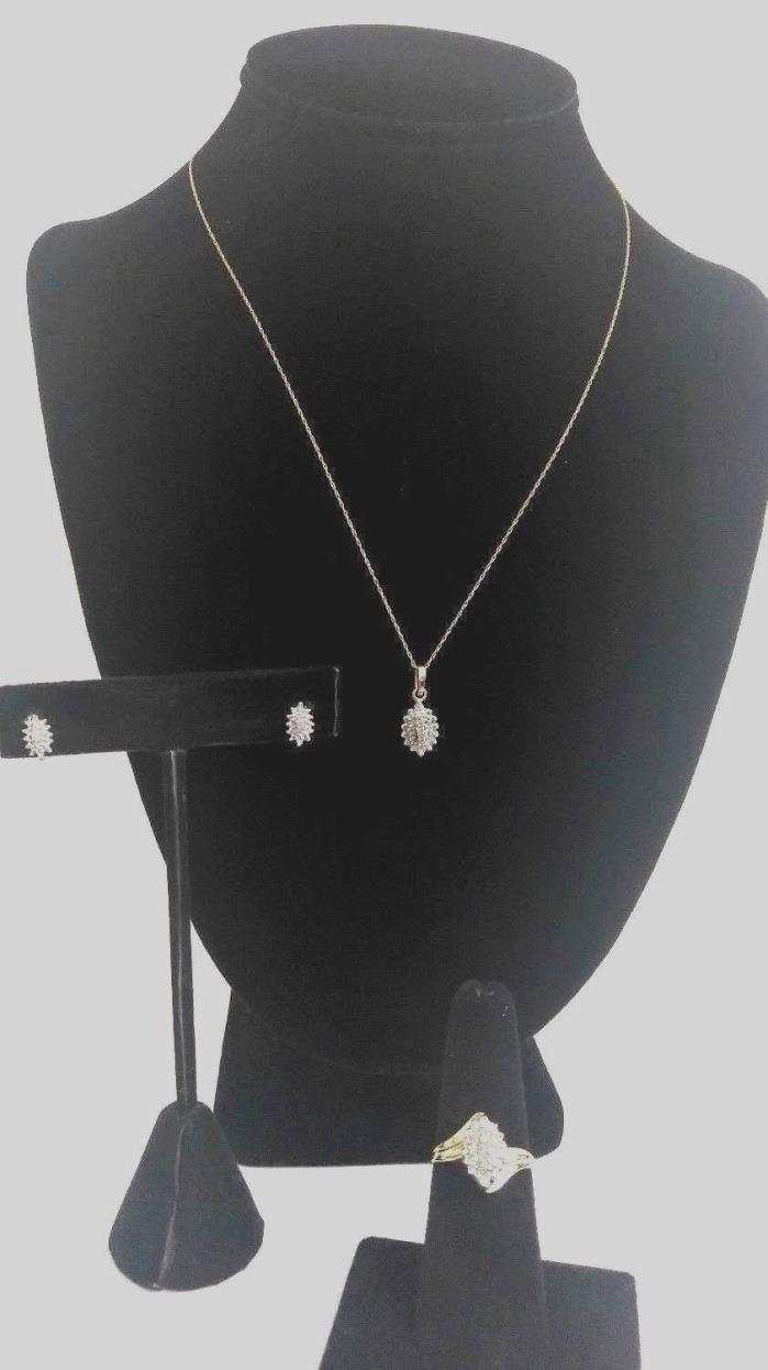 Charming 3 PC Set Necklace, Ring, Earrings 10Kt Yellow Gold & Diamond 4.5g.