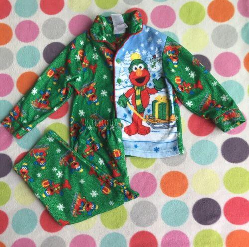 Sesame Street 2 Piece Long Sleeve Christmas Pajama Set Elmo Size 3T