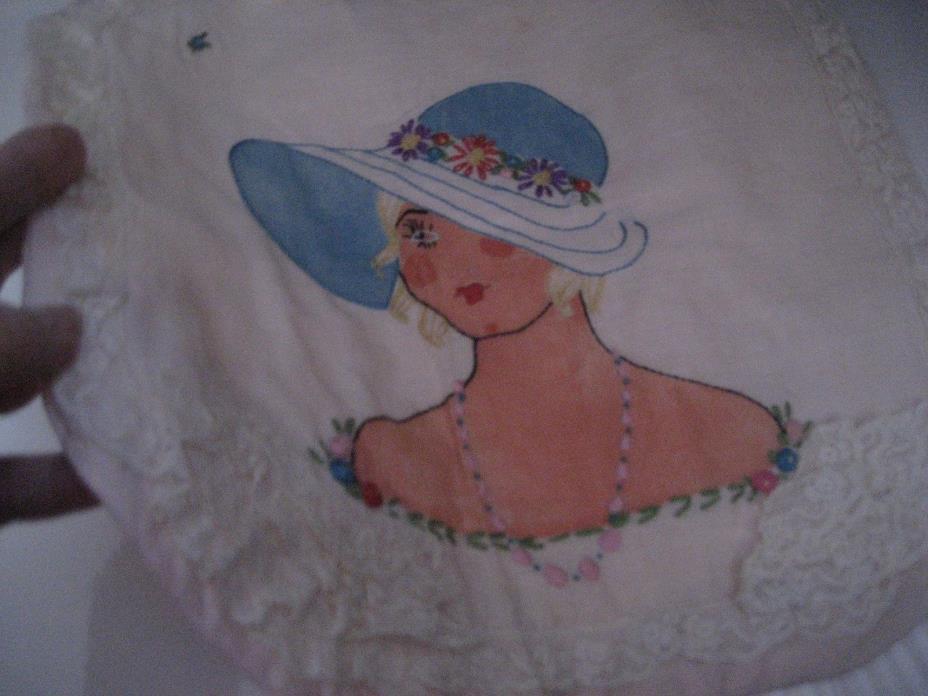 Vtg 1920s Art Deco BUDOIR PILLOW Case Embroidery Painted FLAPPER LADY Unused!