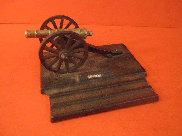 DESK TOP CAST IRON CANNON ON PENCIL HOLDER BASE