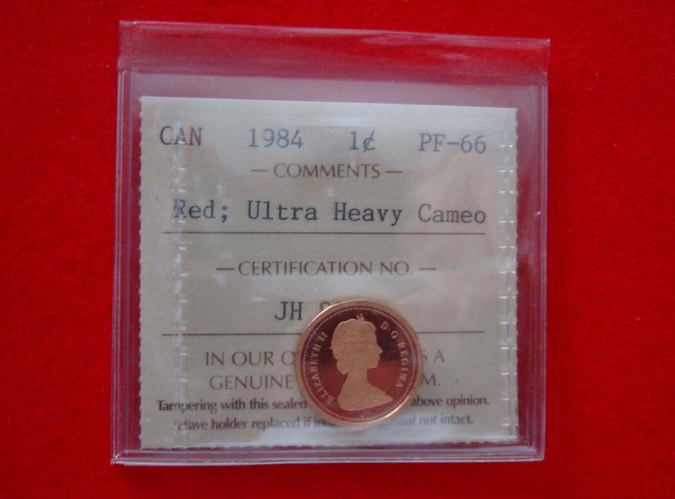 1984 Canada Proof 1-cent  ICCS PF-66 UHC Red