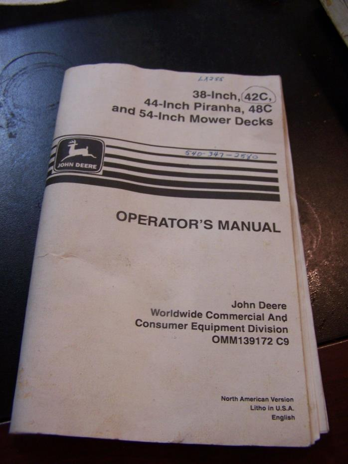 John Deere LX255 38 44 48c 54 inch deck Manual OMM139172 c9 lawn mower lx277 279
