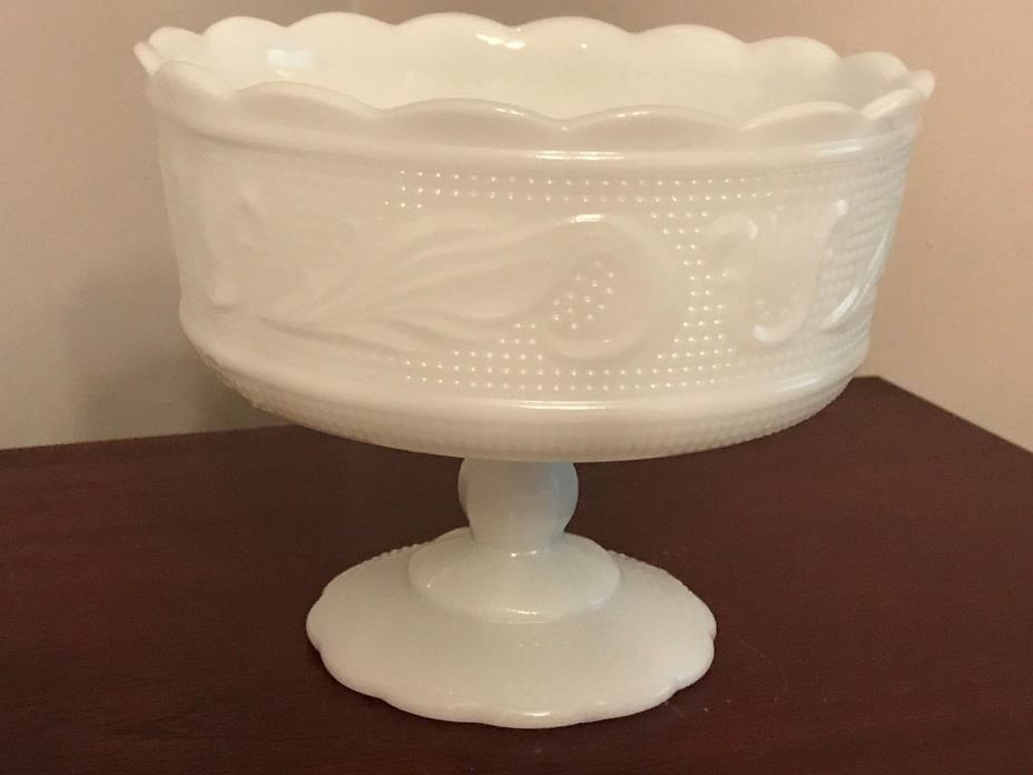 Vtg E.O. Brody Co White Milk Glass Compote /Footed Bowl M6000- Cleveland OH