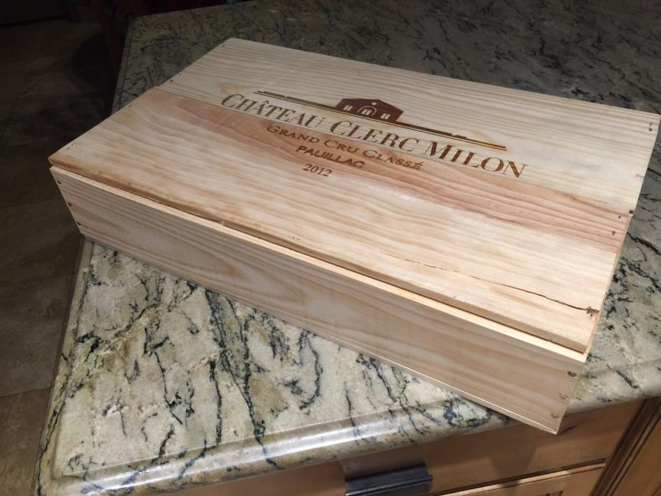 CHATEAU CLERC MILON 2012 FRENCH WOOD WINE CRATE 21 1/2