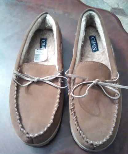 NWT.Men's CHAPS Brown Suede Loafers Moccasins Casual House Slippers. Size 11-12