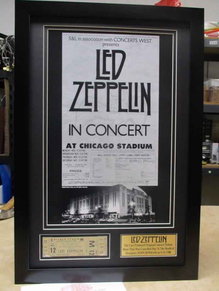 1980 LED ZEPPELIN Mint Unused Concert TICKET w POSTER Frame un signed