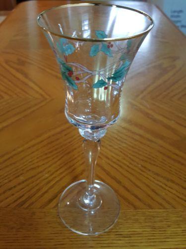 Mikasa Ribbon Holly Wine Glasses Christmas Holiday