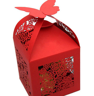 50 pcs  Rose Laser Cut Wedding  Candy Boxes Gifts Box Marriage Party Decor Red