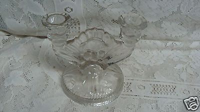 Jeannette Depression Clear Glass Double Candle Holder Iris & Herringbone