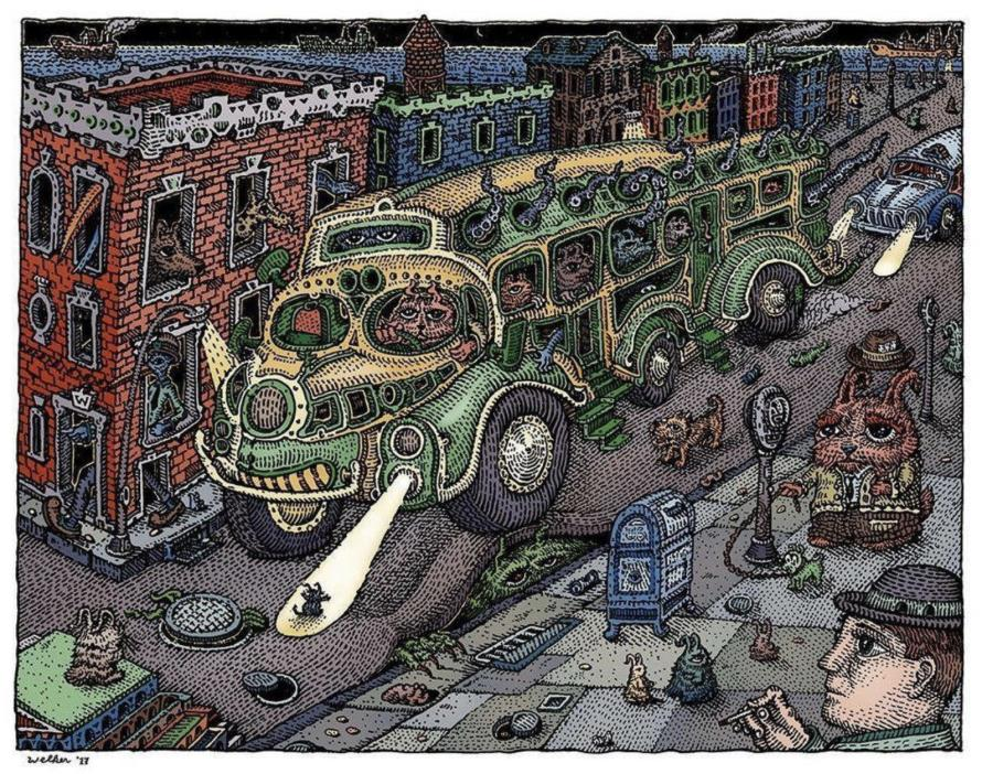 Sunset Bus by David Welker Art Print Signed & Numbered Poster Phish Bakers Dozen