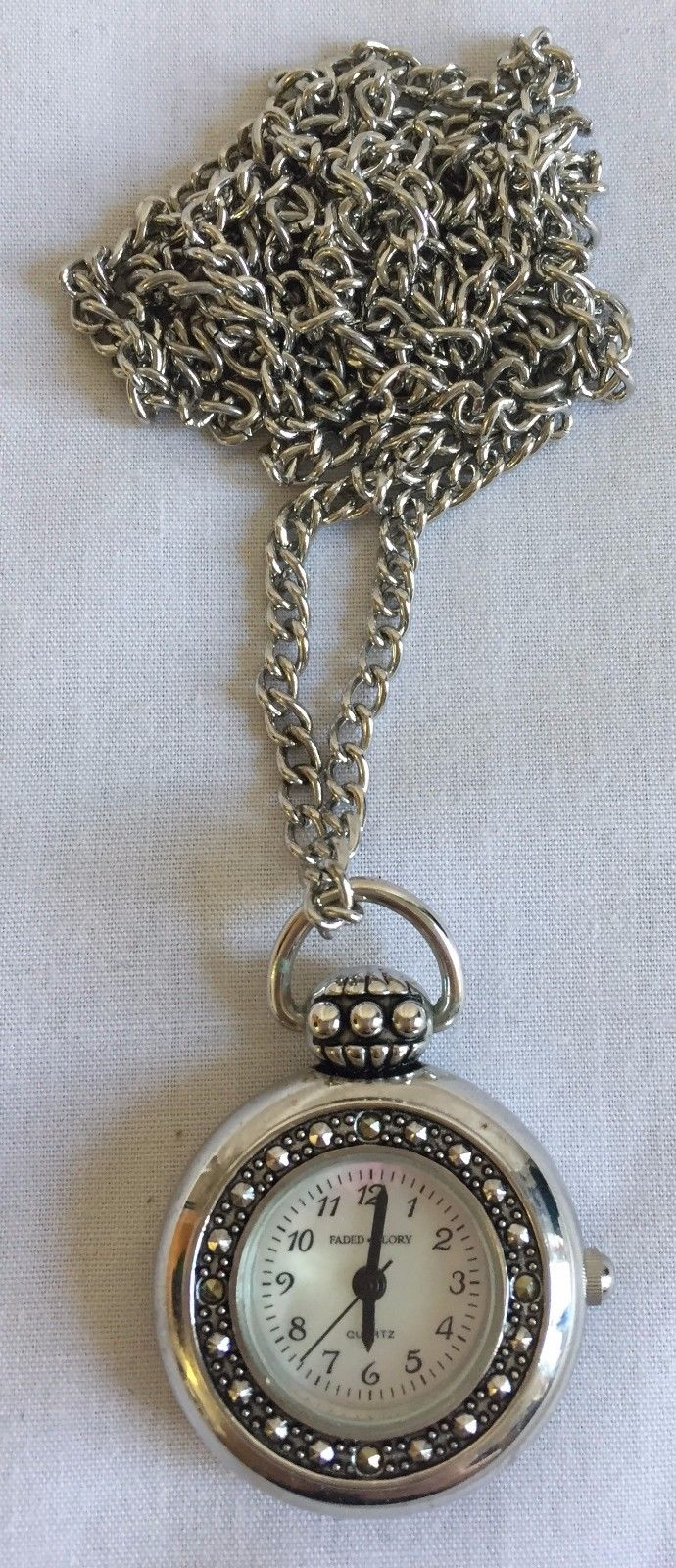 LadiesFADED GLORY NECKLACE PENDANT WATCH Battery Op JAPAN MOVEMENTmarcasite 2155