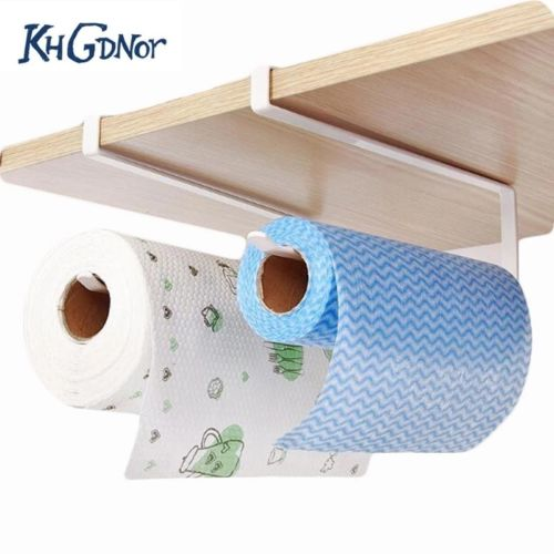 Iron Roll Paper Rack Kitchen Cupboard Hanging Paper Towel Holder Tissue Cling